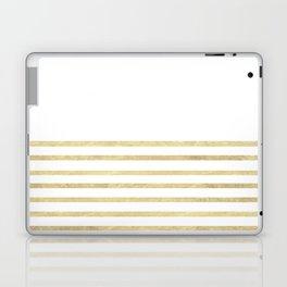White and Gold Stripes Laptop & iPad Skin