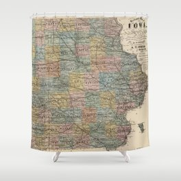 Iowa Shower Curtains Society - Vintage iowa map