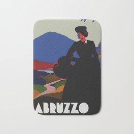 Vintage Abruzzo Italy Travel Poster Bath Mat