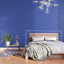 Vintage Lace Floral Sapphire Blue Wallpaper