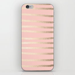 Abstract Drawn Stripes Gold Coral Light Pink iPhone Skin