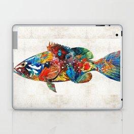 Colorful Grouper Art Fish by Sharon Cummings Laptop & iPad Skin