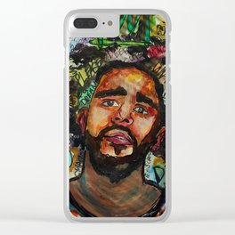 J cole,kod,album,music,rap,cole world,hiphop,rapper,masculine,cool,fan art,wall art,portrait,paint Clear iPhone Case