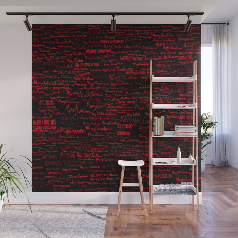 Merry Christmas, Red On Black Wall Mural by Dparker WMP7945567