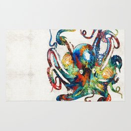 Colorful Octopus Art by Sharon Cummings Rug