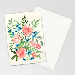 Watercolor Peonies Stationery Cards