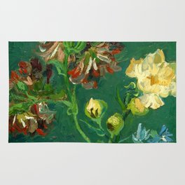 """Vincent Van Gogh """"Small Bottle with Peonies and Blue Delphiniums"""" Rug"""