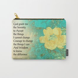Serenity Prayer Peony Yellow Turquoise Carry-All Pouch