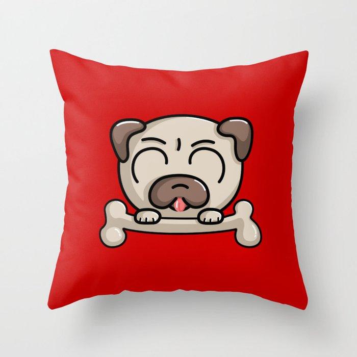 Kawaii Cute Pug Dog Throw Pillow