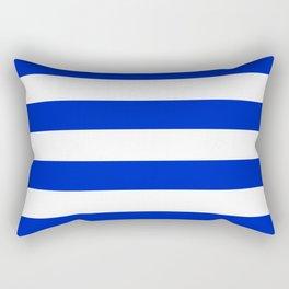 Cobalt Blue and White Wide Cabana Tent Stripe Rectangular Pillow
