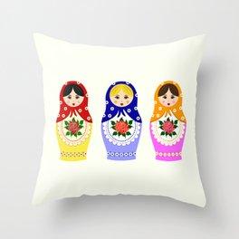 Russian matryoshka nesting dolls Throw Pillow