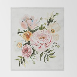 Loose Peonies & Poppies Floral Bouquet Throw Blanket