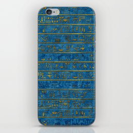 Golden Embossed Egyptian hieroglyphs on blue iPhone Skin