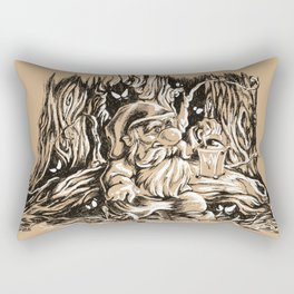 Scared gnome in a dark forest Rectangular Pillow