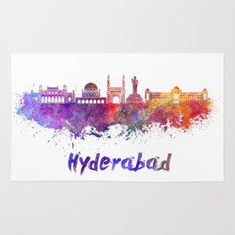 Hyderabad skyline in watercolor Rug