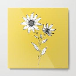 Wildflower line drawing | Botanical Art Metal Print