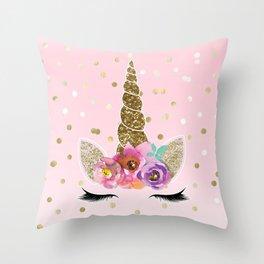 Floral Trendy Modern Unicorn Horn Gold Confetti Throw Pillow