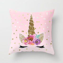 Floral Trendy Modern Unicorn Horn Gold Confetti Throw Pillow