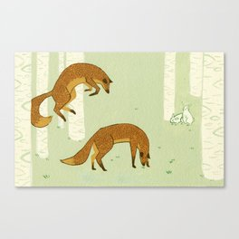 Wrong Focus Foxes Canvas Print