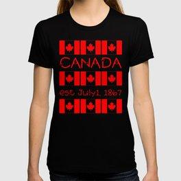 Canada Day Maple Leaf Pattern Canadian Flag T-shirt