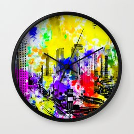building of the hotel and casino at Las Vegas, USA with blue yellow red green purple painting abstra Wall Clock