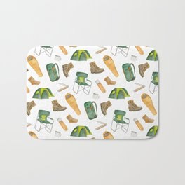Watercolor camping pattern Bath Mat