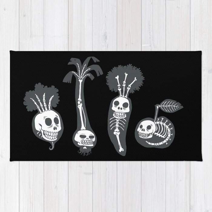 X-rays vegetables (black background) Rug