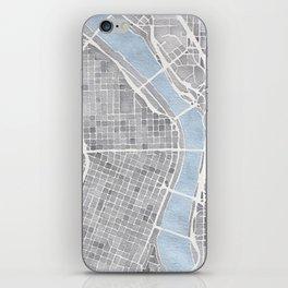Portland Oregon watercolor city map art iPhone Skin