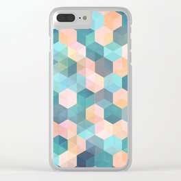 Child's Play 2 - hexagon pattern in soft blue, pink, peach & aqua Clear iPhone Case