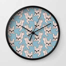 Frog Leg Cream French Bulldog Wall Clock
