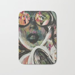 wild one mixed media, collage, vintage photography, bold, bright, beautiful Bath Mat