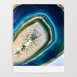 Blue Teal Agate Slice Crystal Stone Vibrant Said to assist you with adapting to change Poster