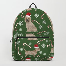 Cairn Terrier dog breed christmas snowflakes candy canes winter holiday pet gifts Backpack