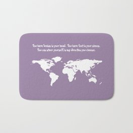 World Map with Dr. Seuss Quote Bath Mat