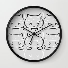 Emocat Allover Gray Wall Clock