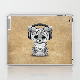 Cute Snow leopard Cub Dj Wearing Headphones Laptop & iPad Skin