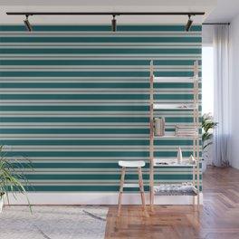 BM 2019 Trending Color Beau Green 2054-20 & COY 2019 Metropolitan Double Bold Horizontal Stripes Wall Mural