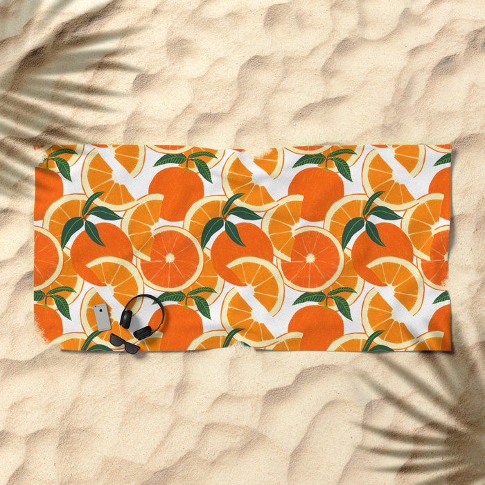 Orange Harvest - White Beach Towel
