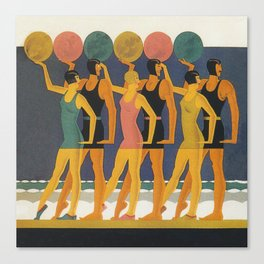 Art Deco Swimwear and Beach Balls Vintage Poster Canvas Print