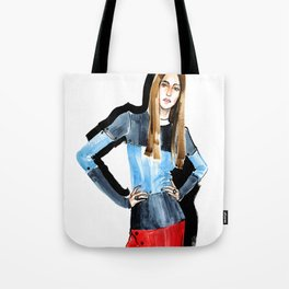Fashion #16. Long-haired girl in fashionable dress-transformer Tote Bag