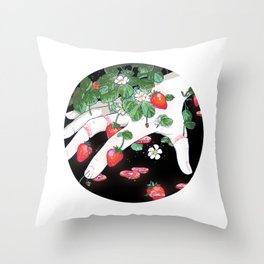 Strawberry Fingers Throw Pillow