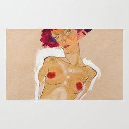 "Egon Schiele ""Squatting Female Nude"" Rug"