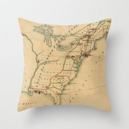 Vintage British Occupation Map of America (1765) Throw Pillow