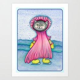 Cat's Winter Holiday Art Print