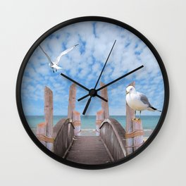 Dock on Beach with Seagulls A340 Wall Clock