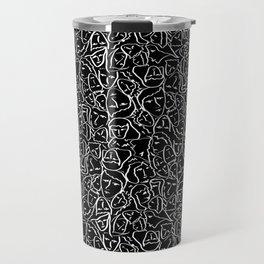 Elio's Shirt Faces in White Outlines on Black Crying Scene Travel Mug