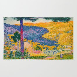 Henri-Edmond Cross Neo-Impressionism Pointillism Valley with Fir Shade on the Mountain Oil Painting Rug