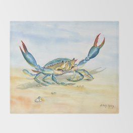 Colorful Blue Crab Throw Blanket