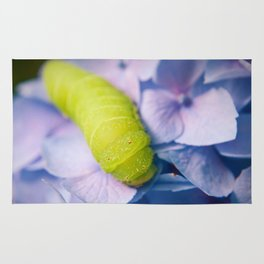Actias Luna Larva on Hydrangea Nature Photo Rug