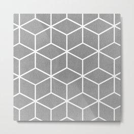Light Grey and White - Geometric Textured Cube Design Metal Print